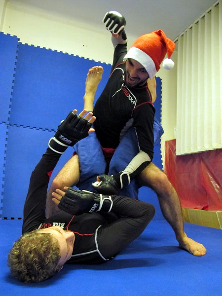 mma fighting santa claus